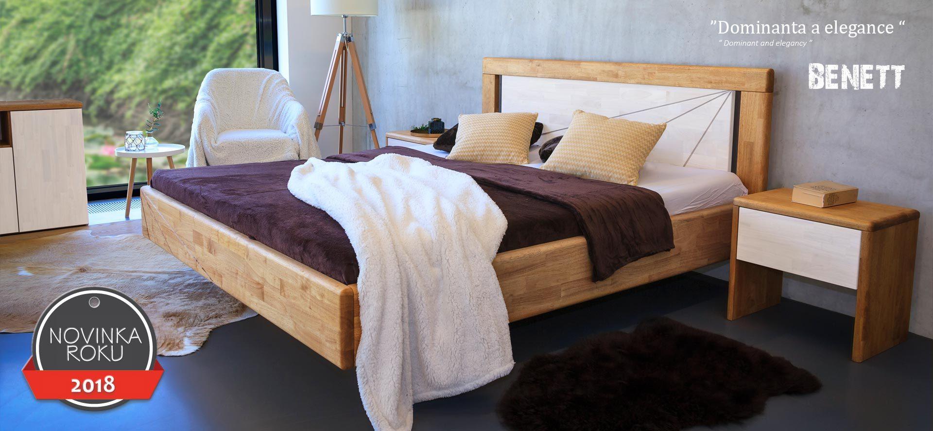 Levitující postel z masivu BENETT má levitující vzhled a výrazně zaoblené všechny hrany. To přispívá k celkovému komfortu při vstávání.