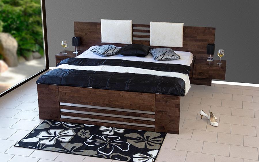 Masivní postel NEVE. Bude díky svému výjimečnému designu dominantou Vaší ložnice.