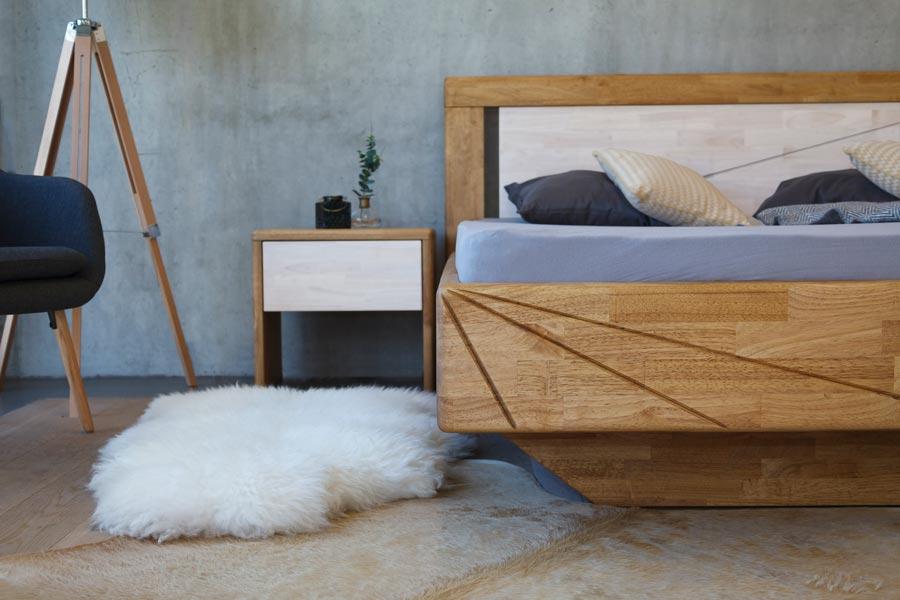 Levitující postel z masivu BENETT je vyrobena z exotické dřeviny, která vyniká svojí tvrdostí a výraznou kresbou.