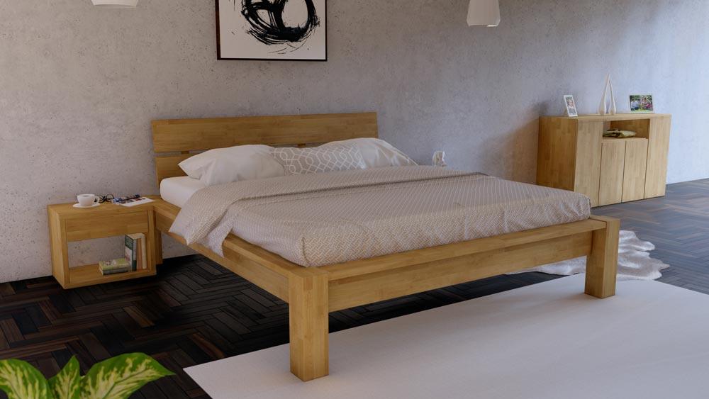 Luxusní postel CORSO. Vám nabízí pevnou a stabilní konstrukci a to především kvůli masivní konstrukci a luxusnímu exotickému materiálu MALAJSKÝ DUB.