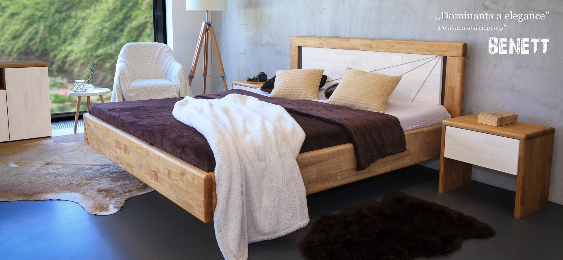 Levitující postel z masivního dubu model BENETT