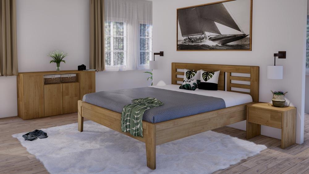 Postel z masivu VENTO Vám nabídne díky výšce ložné plochy příjemné vstávání.